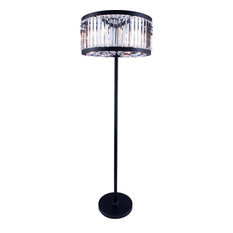 "72"" 60 watt Mocha Brown Floor Lamp Portable Light, Clear"