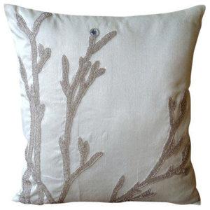 Metallic Beaded Willow 30x30 Art Silk White Throw Cushions Cover, Silver Willow