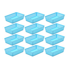 12-Pack Plastic Storage Baskets for Office Drawer, Desk, 32-1182-12, Blue