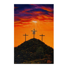 "Mike Bennett Three Crosses At Calvary Art Print, 24""x36"""