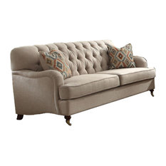 Benzara Inc Fabric Upholstered Sofa With 2 Pillows Beige Sofas