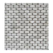 Polished Wood Gray Oval Shaped Mosaic Tile, 15 Sheets