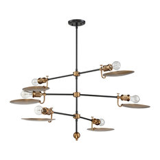 Eclipse 6-Light Chandelier, Flat Black/Patina Aged Brass With Metal Shade