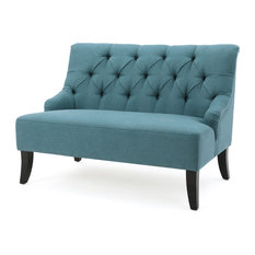 gdfstudio nicoletta tufted fabric settee loveseat dark teal loveseats - Cheap Couches For Sale Under 100