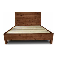 Farm Style Platform Bed Frame, Special Walnut, Queen