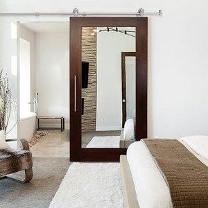 "Mirror Solid Mahogany Sliding Barn Door + Hardware Kit 34""x84"" Inches, 34""x84"" I"