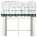 """Gingham green floral Kitchen Curtain, Valance - This kitchen curtain tier has a green scalloped gingham border and a white background with flowers flowing daintily. The matching valance and swag pair are sold separately from the bottom tiers or can be used alone to accent the window. The bottom tiers are available in 24"""" long tier or 36"""" long tier. The picture shows: one swag (pair) + one valance in between over one tier (pair)."""
