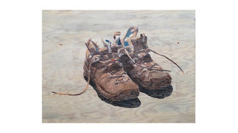 """Rustic Wall Art - Hiking Shoes, 28"""" x 18"""" On Plywood"""
