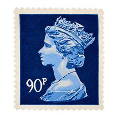 Blue 90p Stamp Rug, 100x120 cm