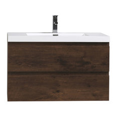 """MOB 36"""" Wall Mounted Vanity With Reinforced Acrylic Sink, Rosewood"""
