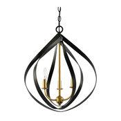 "Kira Home Elizabeth 22"" 3-Light Modern Pendant Light, Warm Brass Accents + Black"