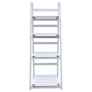 Modern Display Unit, White Painted MDF, Open-Compartment, Ladder Design
