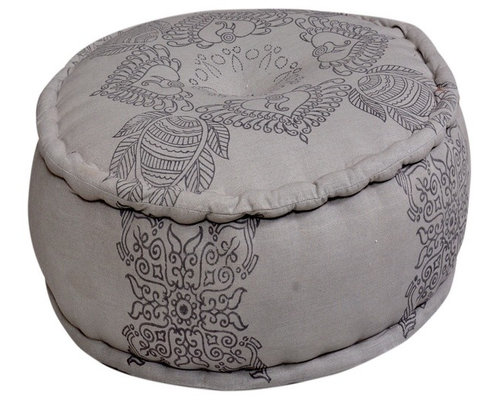 Round Pouf Grey Ottoman in Cotton - Floor Pillows And Poufs
