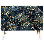 """Deny Designs - Elisabeth Fredriksson Blue Stone Credenza, 38""""x20"""" - The Elisabeth Fredriksson Blue Stone Sideboard is a fabulously modern update of traditional design ideas. Crafted from Baltic birch, this sideboard features a mosaic of differently sized blue stone shards, all outlined in a gold. Its gloss finish is durable and ultra smooth. Open its two doors to reveal a large interior shelf."""