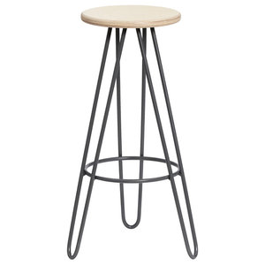 Hairpin Leg Bar Stool, Grey, Small