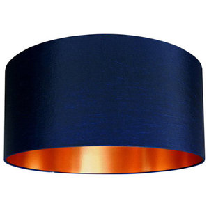 Fabric Lampshade, Midnight Blue and Brushed Copper, 25x25 cm