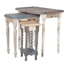 Artifacts Nesting Tables Multi Stain Collage Finish