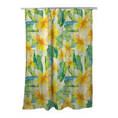 Plumeria Yellow Shower Curtain