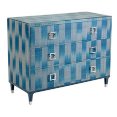 WILDWOOD HOME FLORENCE Chest Nickel Teal Clear Abaca Glass Iron