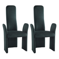 High Contour Back Contemporary Arm Chair (Set of 2) - Green
