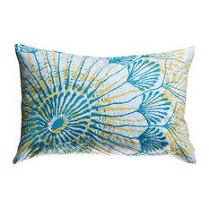 """Water Pillow, Blue/Mustard, 13"""" x 20"""""""