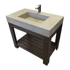 """36"""" Lavare Novo Concrete Sink, White Linen, No Hole"""