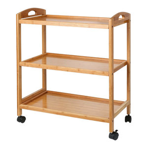 Contemporary Serving Trolley Cart, Natural Bamboo Wood With 3 Open Shelves