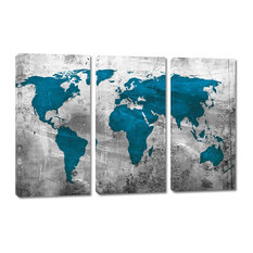 Abstract Silver Teal World Map Canvas Print, 3 Panel Split, Triptych, 60x40