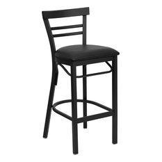 Flash Furniture Hercules 31-inch Ladder Back Metal Bar Stool In Black