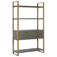 """CosmoLiving by Cosmopolitan Alfie Metal Bookcase """"tag""""re with Drawers, Gray"""