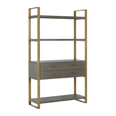 "CosmoLiving by Cosmopolitan Alfie Metal Bookcase ""tag""re with Drawers, Gray"