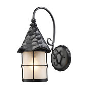 Rustica 1-Light Outdoor Sconce, Matte Black With Scavo Glass