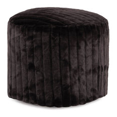 Howard Elliott Faux Mink Snow Tall Pouf Ottoman, Black