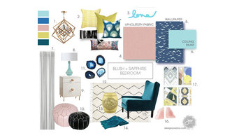 BLUSH + SAPPHIRE BEDROOM STYLEBOARD