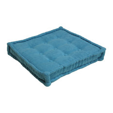 "25"" Square Corder Floor Pillow With Button Tufts, Aqua Blue"