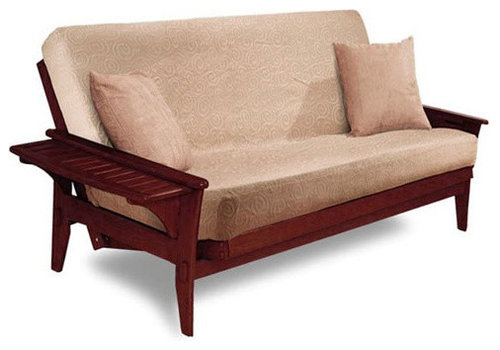 santa cruz futon frame in dark cherry   futons wood futons  rh   houzz
