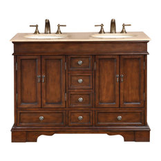 """48"""" Small Double Sink Vanity With Granite or Travertine Top"""