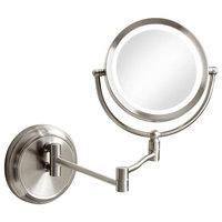 Holmes Swing-Arm LED Magnifier Mirror, Satin Chrome