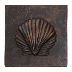 "Sea Shell Design Hammered Copper Tile, 2""x 2"""
