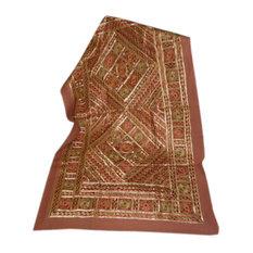 Mogul Interior - Indian Rust Sofa Throw Vintage Banjara Hand Embroidered Throw Home Decor - Tapestries