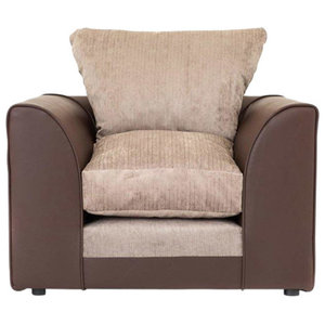 Modern Armchair, Brown Faux Leather Frame and Chenille Cream Fabric Seat