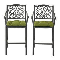Frances Outdoor Barstool With Cushion, Set of 2, Antique Matte Black/Olive