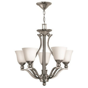Contemporary 5-Arm Chandelier, Etched Opal Glass Shades