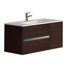 """Aries 39"""" Wenge Modern Bathroom Vanity Wall Mount, Sink"""