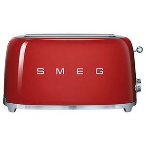 Smeg Retro 50's 4 Slice Toaster With 2 Large Slots, Red
