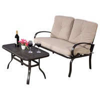 Costway 2 Pcs Patio Outdoor LoveSeat Coffee Table Set Furniture Bench Cushion