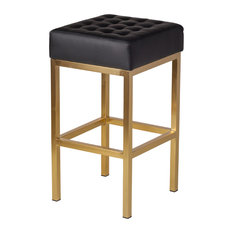 Jezebel Champagne Gold Stool Black Counter Height