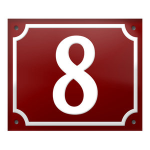 """Number """"8"""" Enamelled Wall Plaque, Red, With Border"""