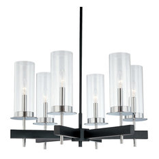 Tuxedo Round Pendant With Chrome/Black Finish and Clear Shade