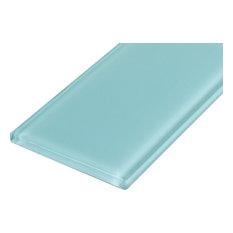 """3""""x6"""" Crystal Glass Tile, Set of 32 (4 sq ft), Sky Blue"""